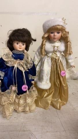 2 PORCElAIN FANCY DOllS
