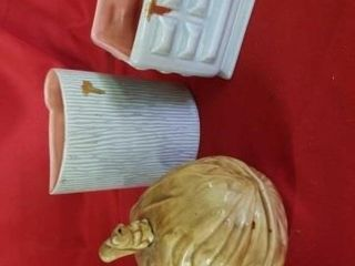 2 RED WINE POTTERY POTS  CANDY CONTAINER