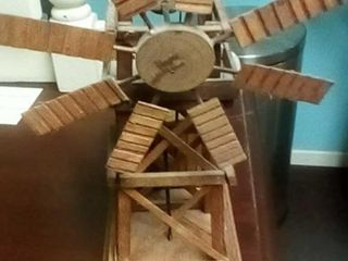 Wooden windmill music box