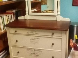 Three drawer dresser with mirror
