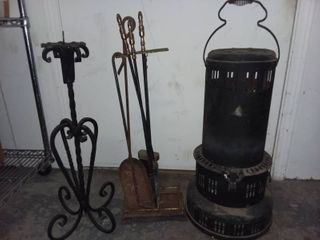 Fireplace Tools with Wrought Iron Candlestick and Heater