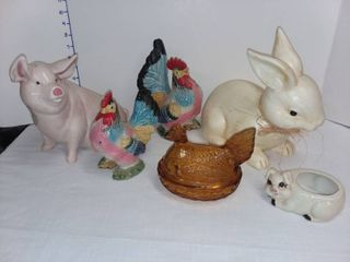 Assorted Decor Pig  Rooster and Bunny