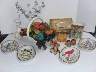 Various Decor Fruit Basket with Vintage Mothers Day Chocolates Tin and Various Decor