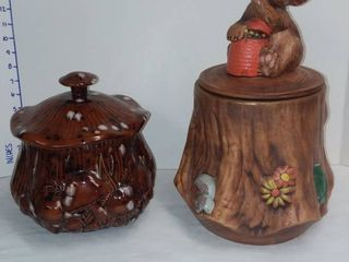 Ceramic Squirrel on log and Mushroom Cookie Jars