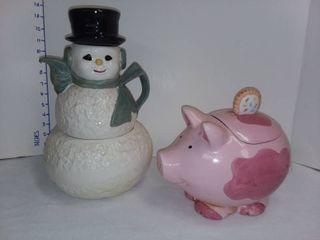 Pig Cookie Jar with Snowman Tea Pot Cookie Jar