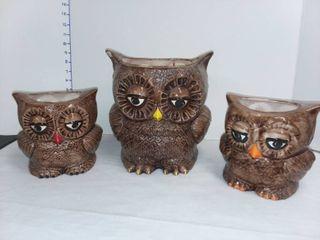 Ceramic Owl Plant Pot Trio
