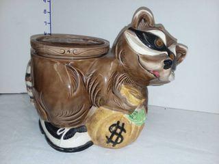 Ceramic Racoon Bandit Flower Pot