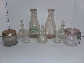 Assorted Glass Jars with Milk Bottles