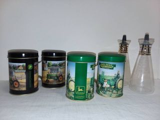 John Deere Salt and Pepper Shakers with Vintage Glass Salt and Pepper Shakers