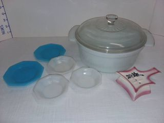 Fire King Bakeware with Various Kitchen Items