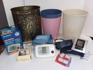 Blood Pressure Monitors with Various Bathroom Items