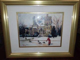 Kandy Tate Framed Castle in Riverside Art 14 x 16 in
