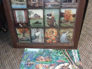 Wood Framed Country Wall Art 24 x 24 5 in with Scenic Oil Painting