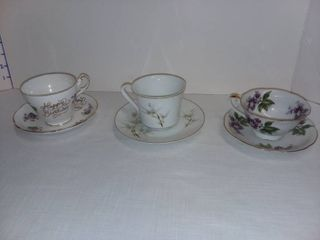 Bone China Teacups with Saucers lot of 3