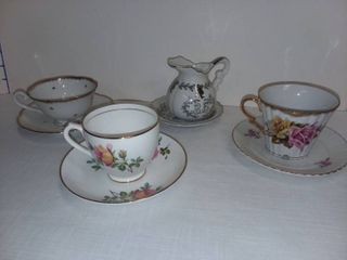 Bone China Teacups with Saucers lot of 4