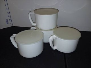 Plastic Mugs with lids Set of 4