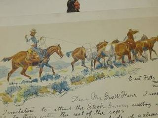 5 FREDERIC REMINGTON and CM RUSSEll Penn Prints  One is a letter to GEO  W  FARR from CHARlES M  RUSSEll