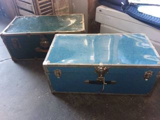 Vintage Trunks Blue and Green 12 x 30 x 16 in Each