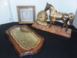 Horse Clock with Framed Religious Wall Decor and Mounted 10 Commandments