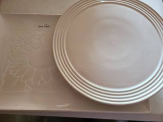 2 Platters Rectangle is 18  long and Round is 13  in Diameter  Rectangular is an ETCHED Sunflower the Round is a PAMPERED CHEF