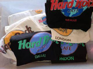 7 Pcs  HARD ROCK CAFE T Shirts  Size large and Extra large