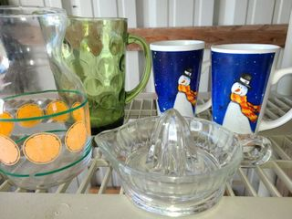 Small Kitchen Wares  Pitcher  Juice Pitcher  Juicer  and 2 Snowmen Coffee Mugs