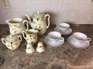 Vintage Hall s Superior Jewel Tea Autumn leaf Mary Dunbar Coffee Tea Pot  Pitcher  Cream Sugar Set   S P Set   Plus Imperial China Cups   Saucers