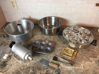 Stainless Steel Kitchenware   Electric Skillet  Utensils  Vintage Cookie Press decorator