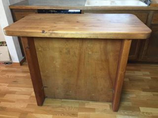 Custom made Solid Butcher Block Kitchen Island   45in W x 24in D x 36in T  w adjustable shelves