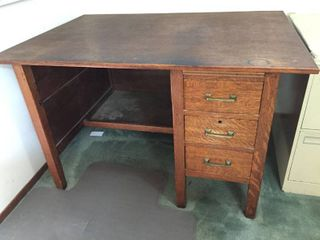 Antique Wood Desk with newer top   3 drawers  48in W x 34in D x 29 5in T   HEAVY  MUST bring help to move