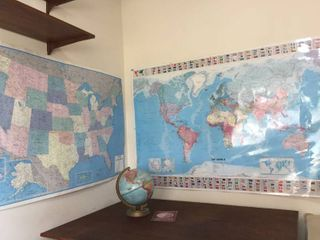 Vintage Repogle 10 in Globe  laminated 56in W x 40in T World Map    50in W x 33in T Paper US Map