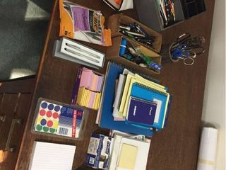Office Supplies   Pens  Pencils  Markers  Metal Money Box  Note pads  Scissors  Tape  Hole Punches  Index cards