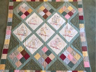 Custom Made Days of the Week Tea Towel lap Display Quilt   51in x 51in