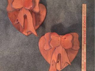 Pair of Custom Made Wood Heart Wall Quilt Holders