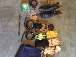 Men s Gloves  Size 38 Belts  Size 9 Black leather Boots  Golf Pullover  Bolo Tie  accessories