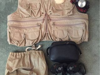 Hunting Vest Size lg  Canvas Bag  luna 7x35 Binoculars w case  Browning Head light