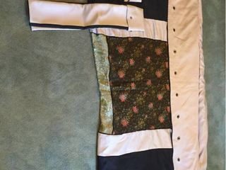 Custom Made King Size Duvet Cover with Embroidered Asian Silk Panels over a Poly Fil Comforter   with 2 matching King Size Pillow Shams  Main colors are Taupe Black  Silk panels are Multi
