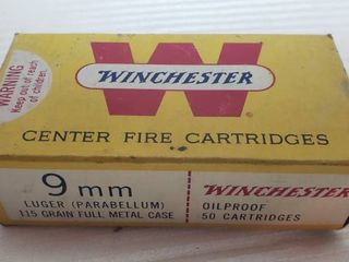 Partial Box of Winchester 9mm luger Center Fire Cartridges   37 rounds total   115 grain