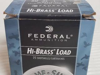 Partial Box of Federal   20 GA   2 3 4 in   1 oz  shot   5 shot   Shotgun Cartridges   21 shells total   Hi Brass lead