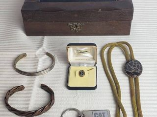 Mens Jewelry Items w Jewelry Box   Bolo  Tie Tack  Bracelets  and Key Chain