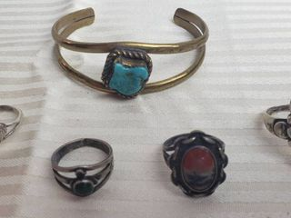 Indian Style Jewelry   Brass Turquoise Bracelet and 4 Silver Stone Rings   2 Marked Sterling   Various Sizes