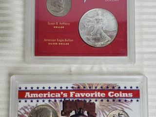 2 Coin Sets   America s Smallest Dollar   largest Silver Dollar and America s Favorite Coins