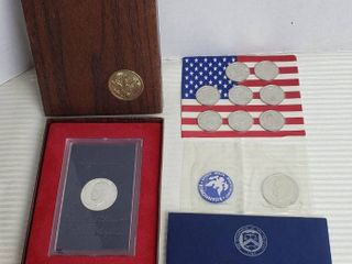 Eisenhower 1971 US Proof Dollar  1971 Eisenhower Uncirculated Silver Dollar and Set of States of the Union Coins circa 1998