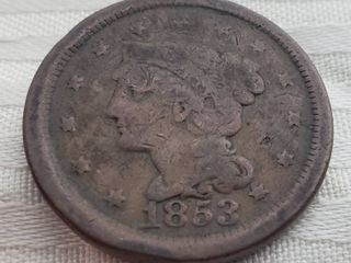 1853 US One Cent Coin
