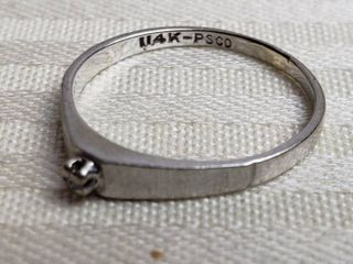 ladies 14K White Gold Promise Ring   1 gram TW