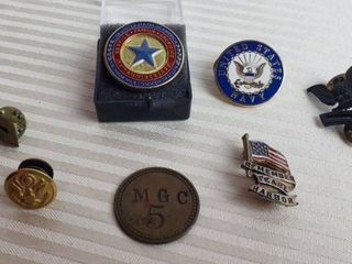 Military Pens  Rank Insignia and Brass Token