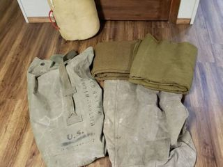 Military Duffel Bags  Wool Blankets and Sleeping Bag