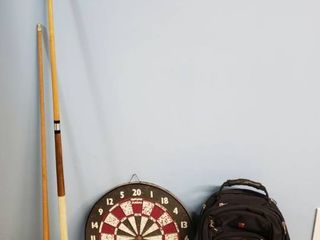 Pool Cues  Dart Board and Swiss Backpack