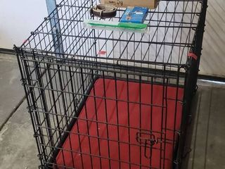 Pet Items   Wire Kennel  22 x 30 x 25 in  tall  2 Collars  Med  and Grooming Products