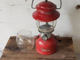 Coleman lantern   Model 200A   extra glass globe   made 09 1976 and Wood Crate  17 x 12 x 6 in